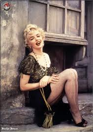 Marilyn in fishnets-a classic look.